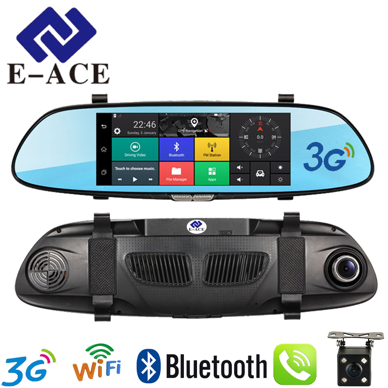 E-ACE 7 Touch 3G Car Camera DVR GPS Bluetooth Dual Lens Rearview Mirror Android 5.0 Video Recorder Full HD 1080P Auto Dash Cam 5 inch car camera dvr dual lens rearview mirror video recorder fhd 1080p automobile dvr mirror dash cam