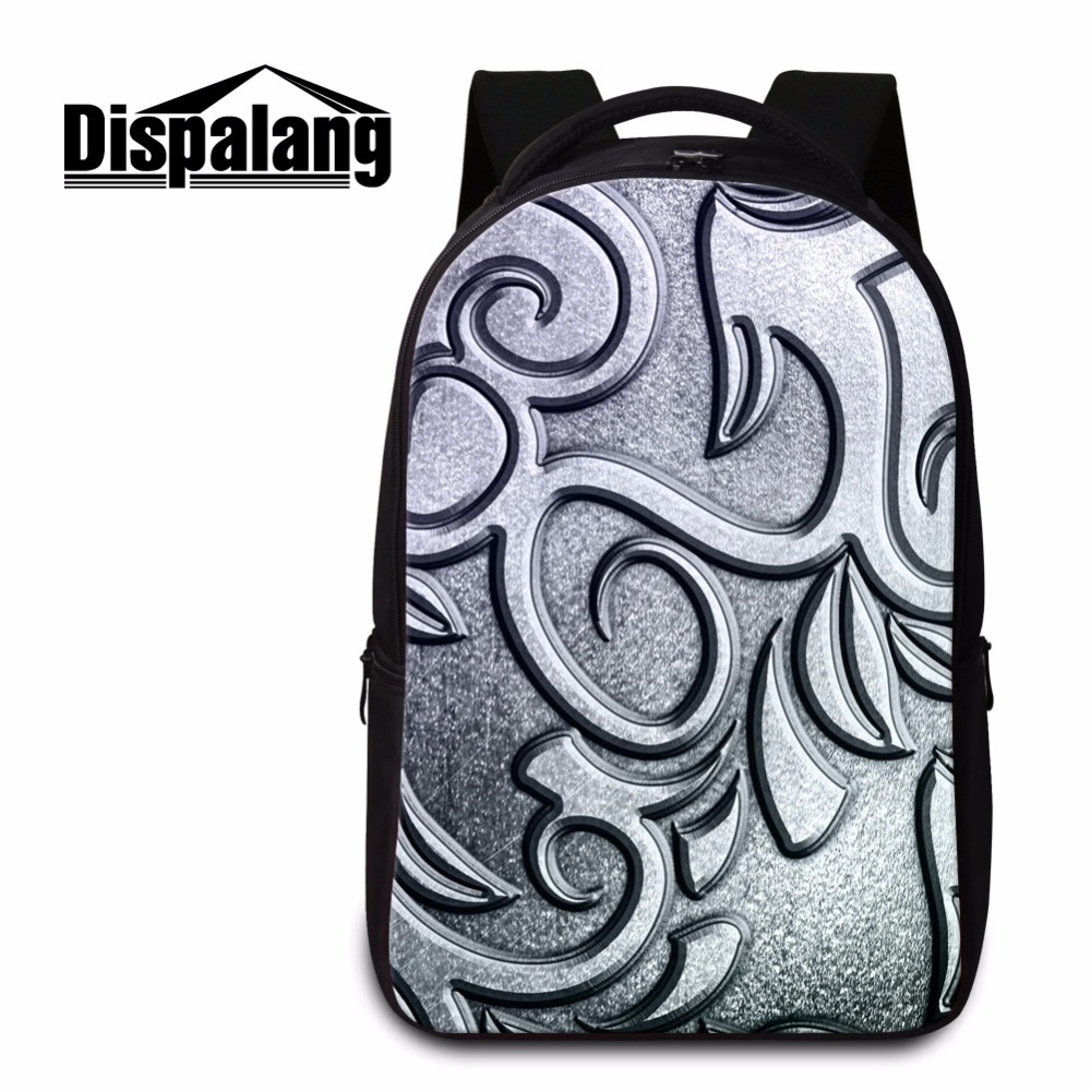 Dispalang Metal Pritned School backpack for High Class Students Personalized Laptop Back Pack for Men Boys Geometric Travel Bag dispalang soccerly school backpack for teenager boys basketbally bookbag for primary student lightweight back pack pencil bags