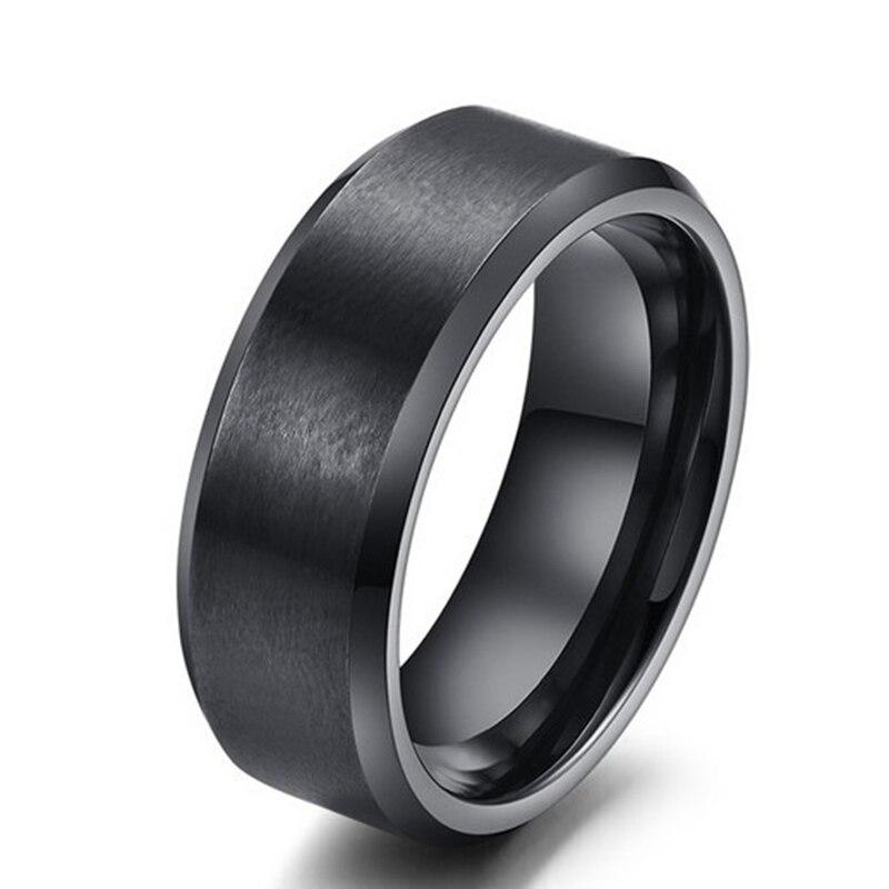 Ekustyee aço inoxidável simples anéis homens jóias na moda gótico preto anéis de noivado para mulher jóias indianas
