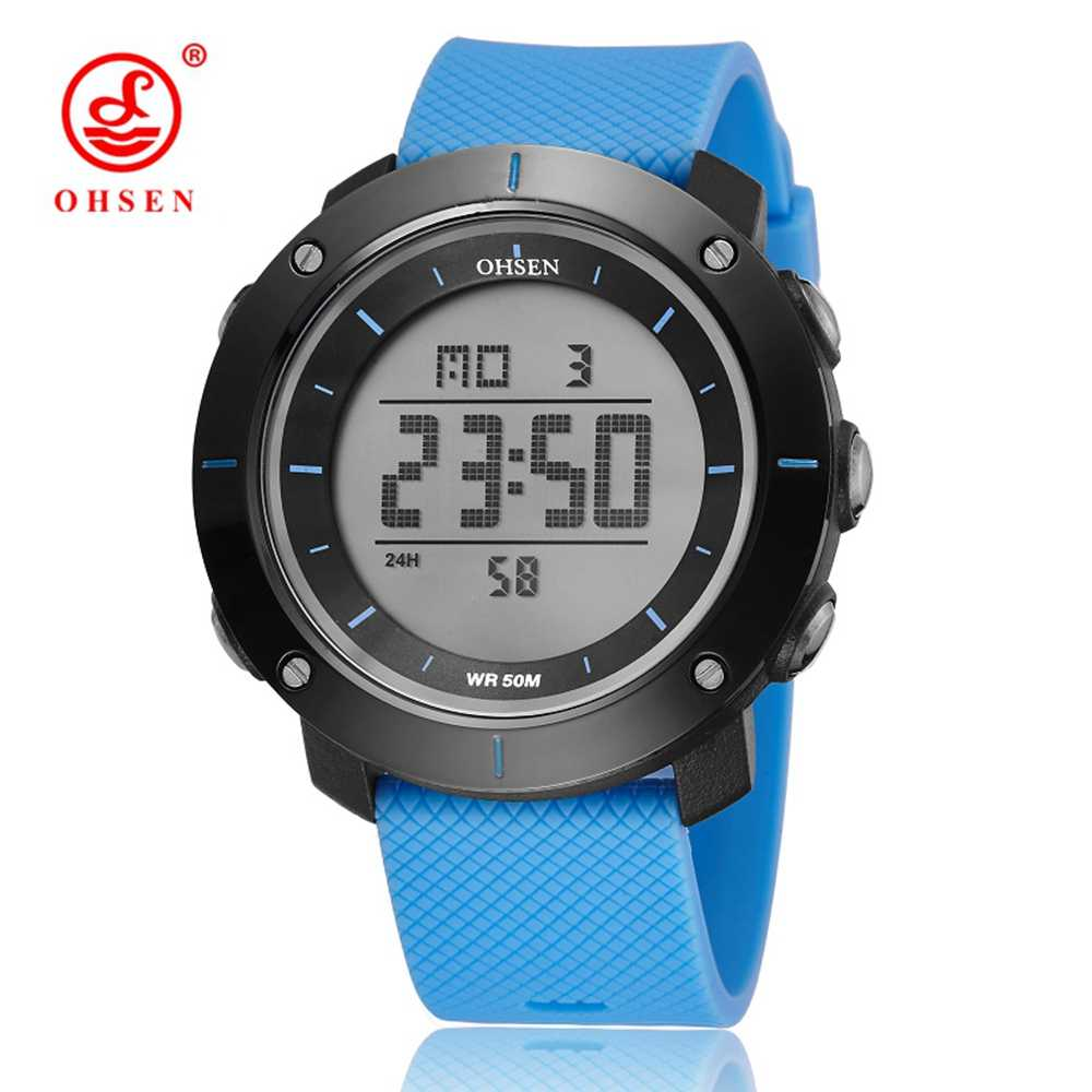 New OHSEN Brand Men Digital Watch Unisex Style Sports Military Water Resistant Watches Calendar Function Alarm Relogio Masculino
