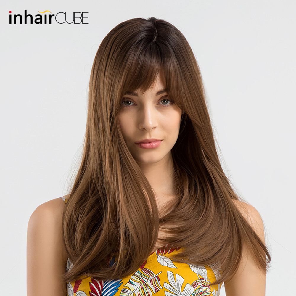INHAIR CUBE 18 Dark Roots Ombre Wig Synthetic Brown Long Straight Hair Wigs with Bangs Realistic Simulation Scalp Side Part