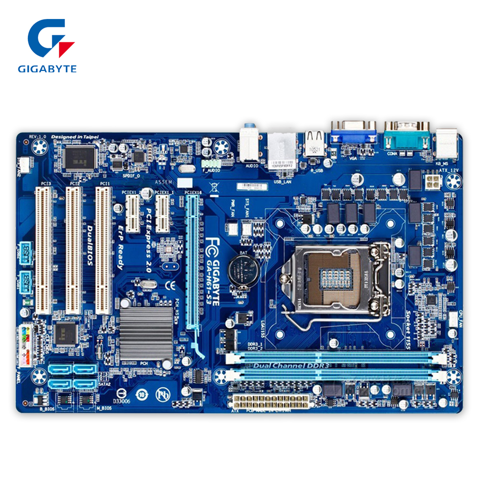 Gigabyte GA-H61-S3 Original Used Desktop Motherboard H61-S3 H61 LGA 1155 i3 i5 i7 DDR3 16G ATX ga p61 s3 p61 desktop motherboard large panel p61 s3 a 1155 ddr3 100% tested perfect quality