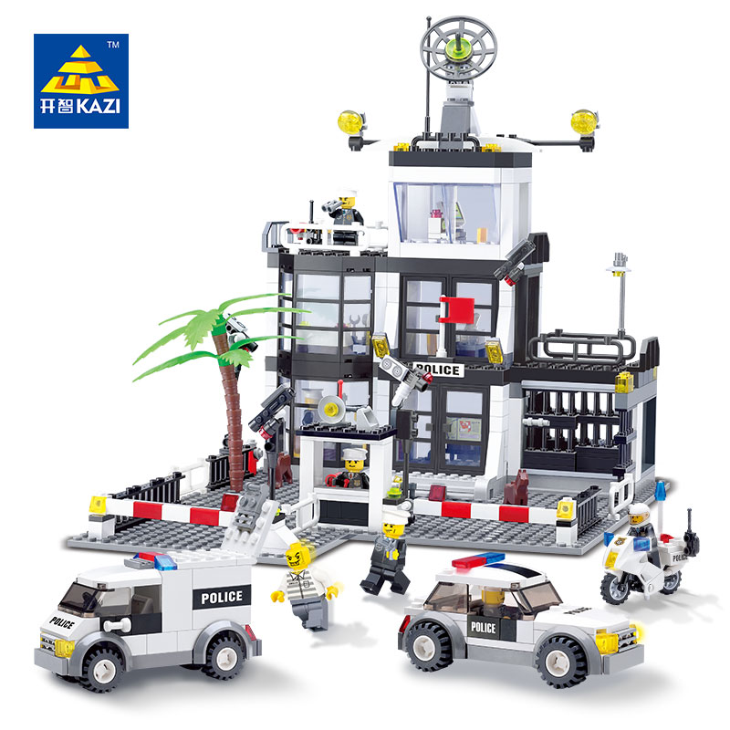 KAZI 6725 3D Construction educational Bricks 6725 Building Block Sets Police Stations Enlighten toys for children Christmas Gift kazi 608pcs pirates armada flagship building blocks brinquedos caribbean warship sets the black pearl compatible with bricks