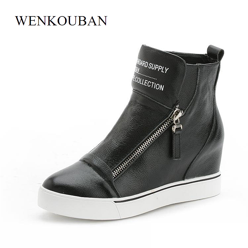 Genuine Leather Shoes Women Sneakers Casual Wedges Shoes Summer High Top Sneakers Ladies White Black Shoes Zipper Zapatos Mujer sweet women high quality bowtie pointed toe flock flat shoes women casual summer ladies slip on casual zapatos mujer bt123