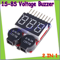 100pcs/lot 1-8S Lipo/Li-ion/Fe Battery Voltage 2IN1 Tester Low Voltage Buzzer Alarm 3.7V-22.2V