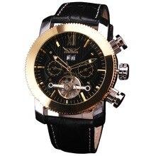 Лучший бренд класса люкс победитель Для Мужчин's Tourbillon Автоматическая Деловые часы Пояса из натуральной кожи группа Многофункциональный Календари Мужские часы