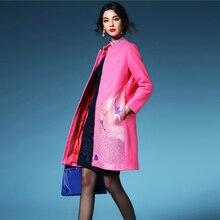 Fashion Brand Designer Winter Coat Women Character Embroidery Long Thick Wool Trench Jacket Coats Female Autumn casaco feminino