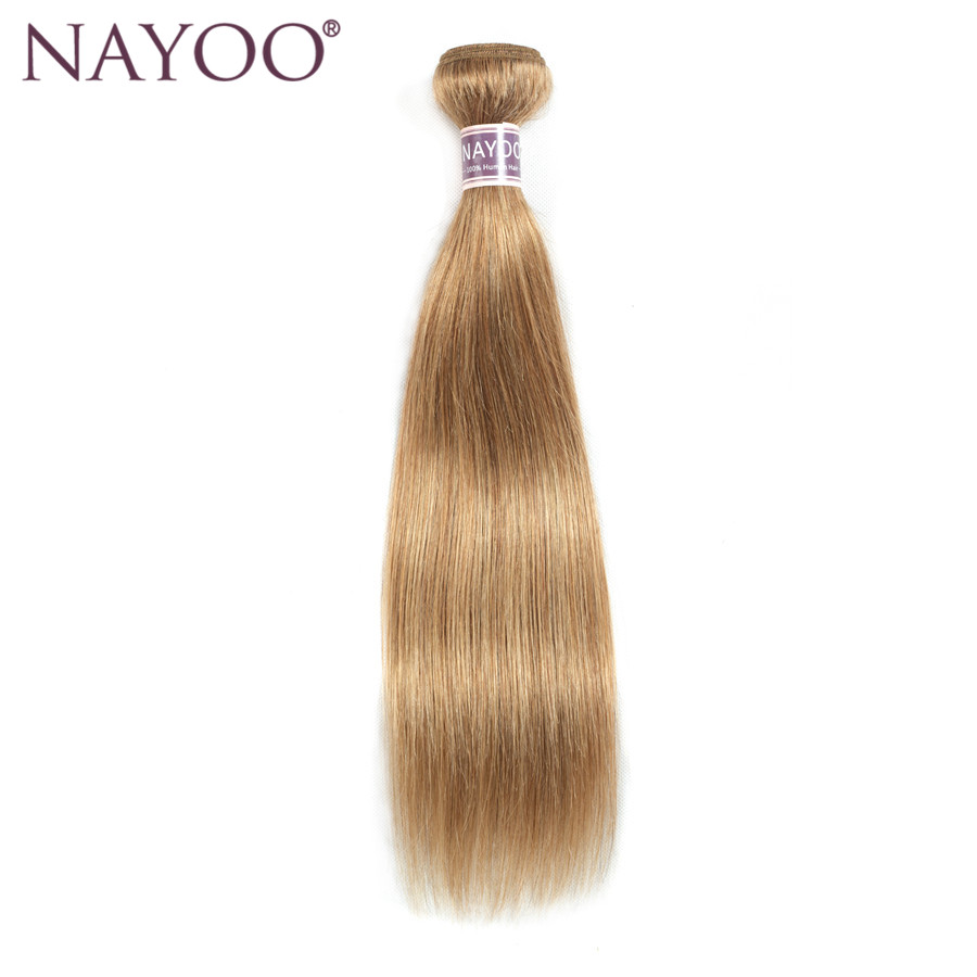 NAYOO Honey Blonde Bundles Mänskligt Hår Straight Color 27 1PCS - Mänskligt hår (svart)