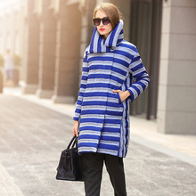 2016 new fashion High collar winter 90% white duck extra long down jacket women's down coat female outerwear blue striped