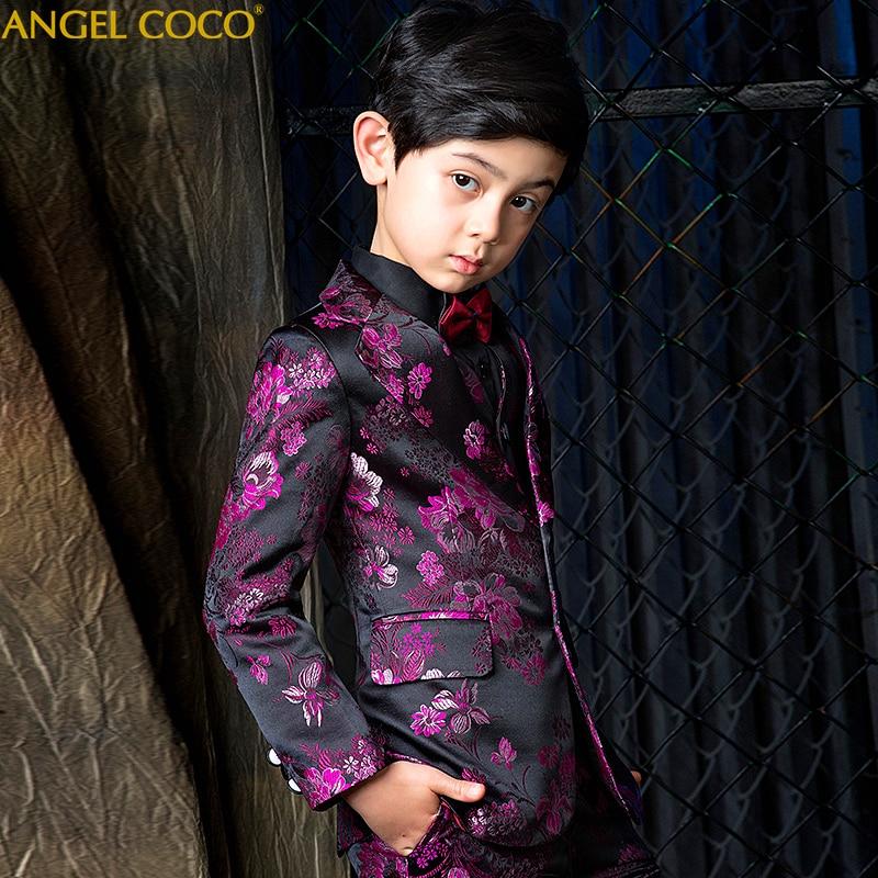 Purple Suit for Boy Suits for Weddings Terno Infantil Costume Enfant Garcon Mariage Disfraz Infantil Boys Suits Kids Formal Suit in Clothing Sets from Mother Kids