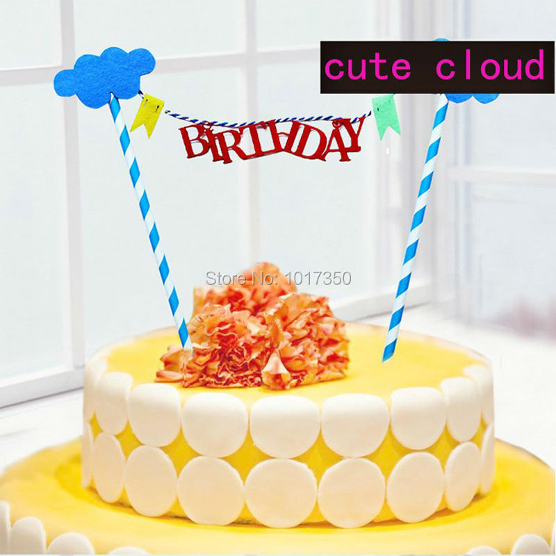 Lollodoo Cake Decor And Baking : Aliexpress.com : Buy Cute Cloud Happy Birthday Cake Topper ...