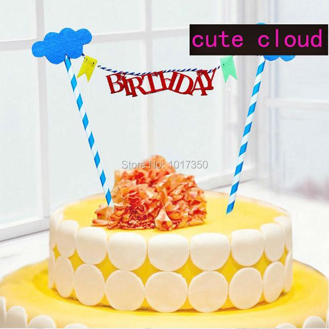 Cute Wolke Happy Birthday Kuchendeckel Cupcake Flaggen Papier