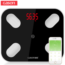 GASON S4 Body Fat Scale Floor Scientific Smart Electronic LED Digital Weight Bathroom Balance Bluetooth APP Android or IOS cheap Household Scales Four-point Type Body Fat and Water Content Testing Toughened Glass Square Solid 180KG APP application control