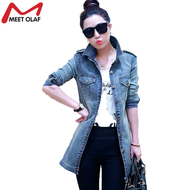 2016  Denim Trench Coat For Women Casual Female Plus Size Jean Windbreaker Coat YL613