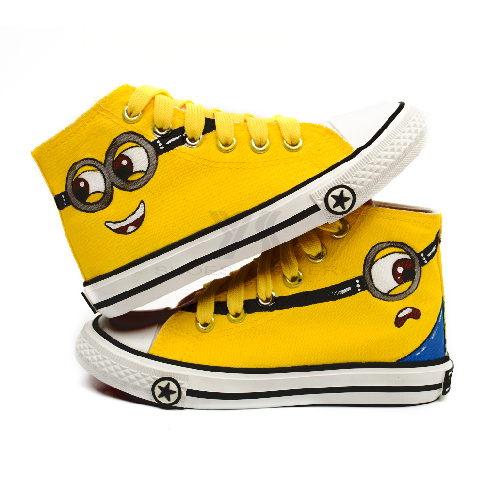 8819c86c5b6960 Canvas Kids Shoes 2016 Casual Minions Hand Painting Shoes for Girls Boys  Cartoon Lace up Kids Sneakers N7 30-in Sneakers from Mother   Kids on ...