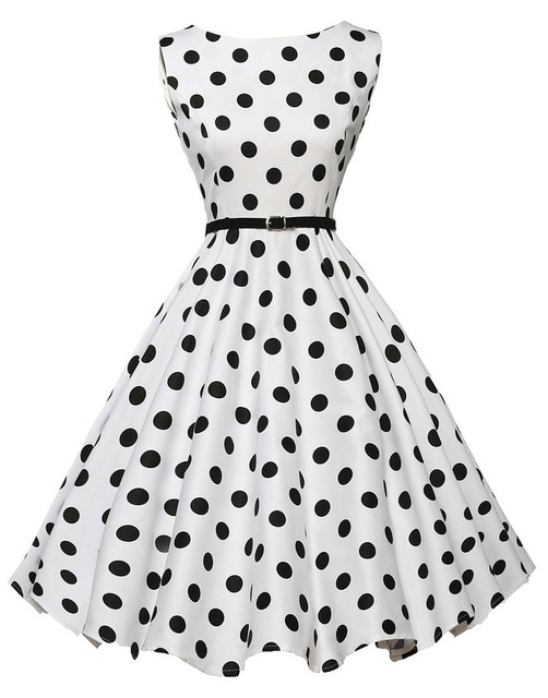 30d6b89b32d 2017 Women s 60s 50s Dress Elegant Vintage Rockabilly Pinup Party Dresses  Female Black White Polka Dot Print Dresses