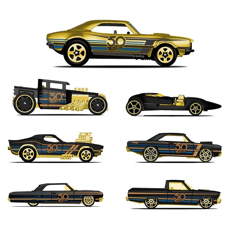 Hot Wheels Collectionneur De Voitures Édition de 50th Anniversaire Noir Or Métal Diecast Cars Jouets Véhicule Pour Enfants Juguetes FRN33