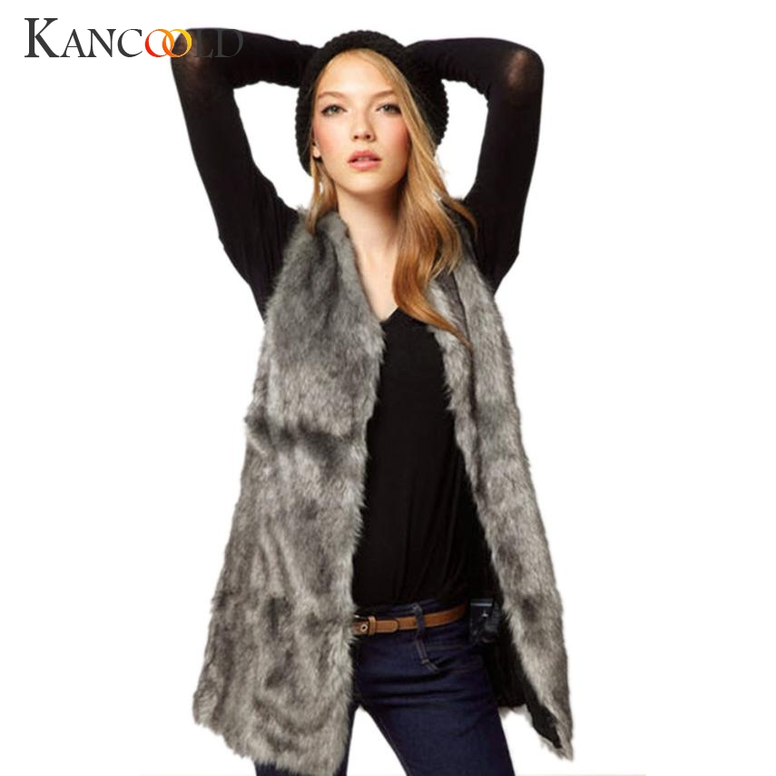 2017 Mode Frauen Faux Pelzweste Jacke Sleeveless Winter Körper Warm Mantel Lange Taille Mantel Dropshipping July0725