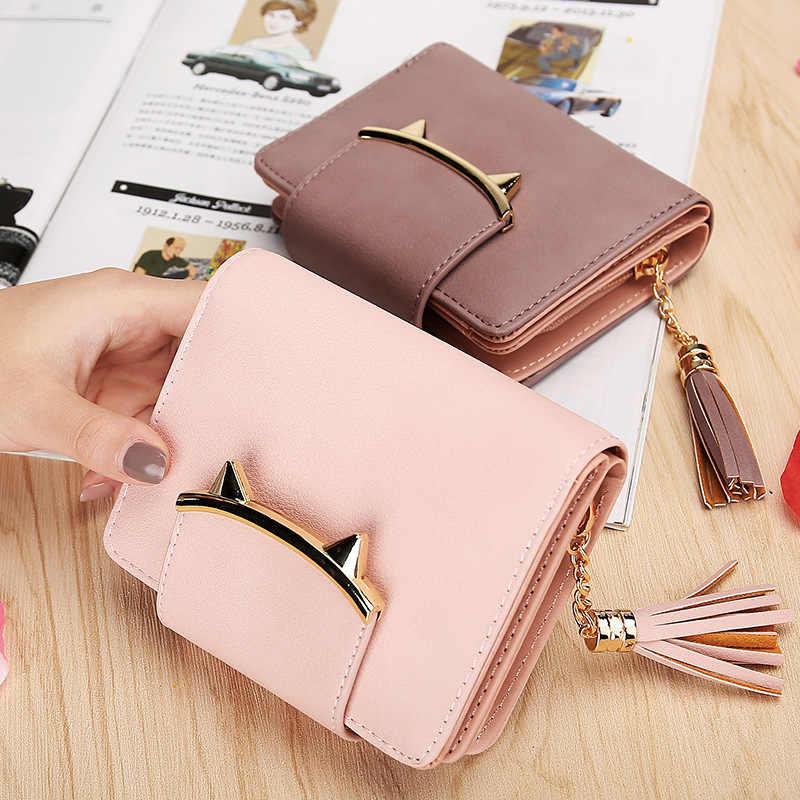 2019 koreański Cute Cat Anime skórzane frędzle Trifold cienki portfel mini kobiet mała portmonetka torebka damska monety posiadacz karty torba dolar
