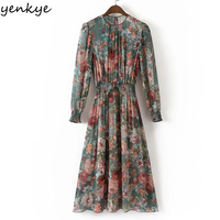 Autumn Women Vintage Printed Dress Long Sleeve O Neck 2pcs Casual Chiffon Dress European Style Elastic