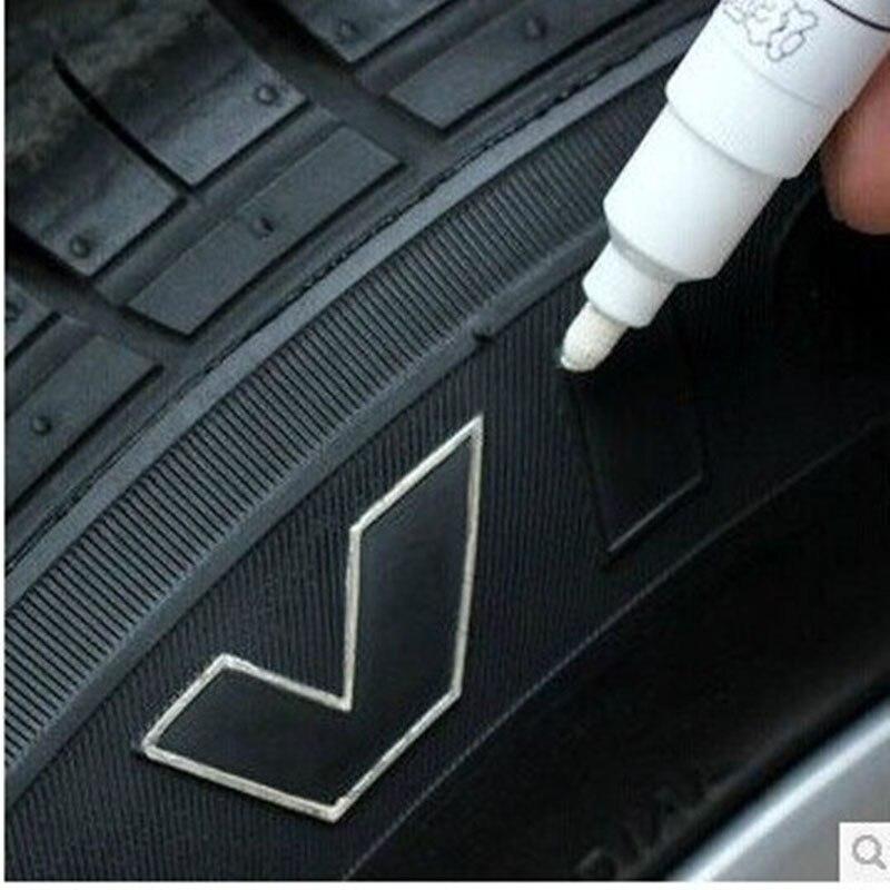 1 ud. Marcador de banda de rodadura para neumático de coche, bolígrafo negro blanco plateado, marcador de pintura permanente resistente al agua, CD metálico, envío directo de aceite CHIZIYO