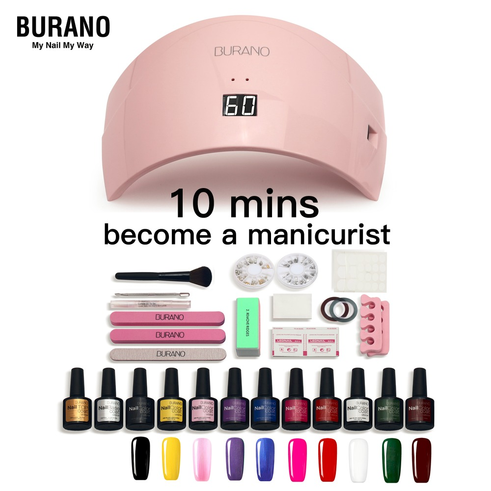 Hot BURANO nail set for gel varnish 10 popular uv color nail gel polish set with led dry lamp nail kit manicure nail art tools