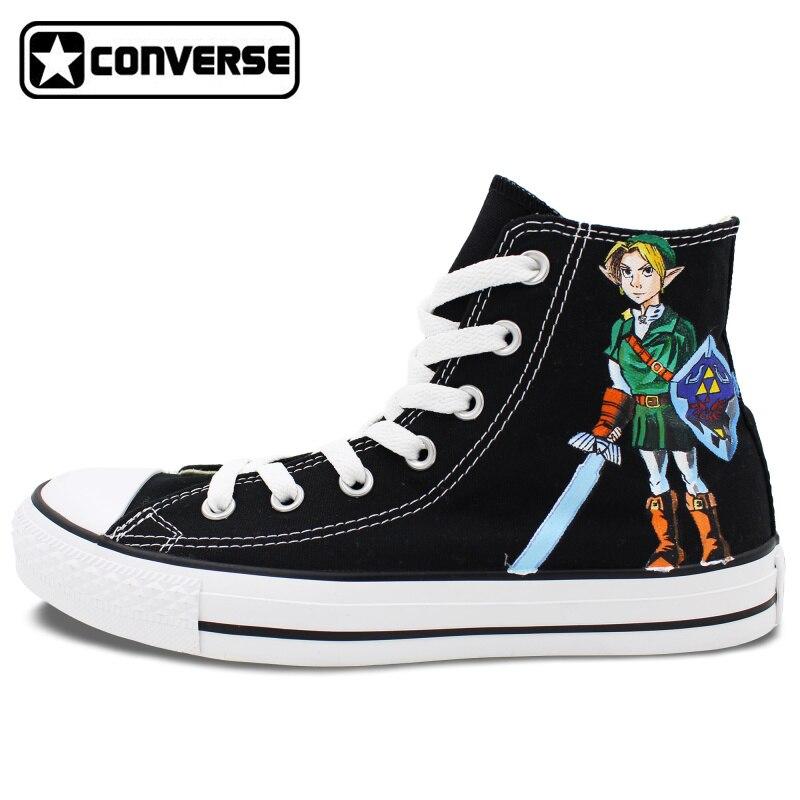 Prix pour Nouveau Converse All Star Toile Chaussures Lien La Légende de Zelda Conception Peint À La Main Chaussures High Top Toile Sneakers Hommes femmes