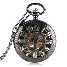 Бронзовые винтажные Автоматические Механические карманные часы