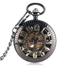 Bronze Vintage Automatic Mechanical Pocket Watch Black Pendant Fob Chain Antique Clock Gifts For Men Women Reloj De Bolsillo