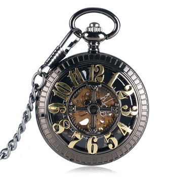 Bronze Vintage Automatic Mechanical Pocket Watch Black Pendant Fob Chain Antique Clock Gifts For Men Women Reloj De Bolsillo golden black sliver antique hollow automatic mechanical pocket watch fob chain hand winding full steel sculpture for men wome