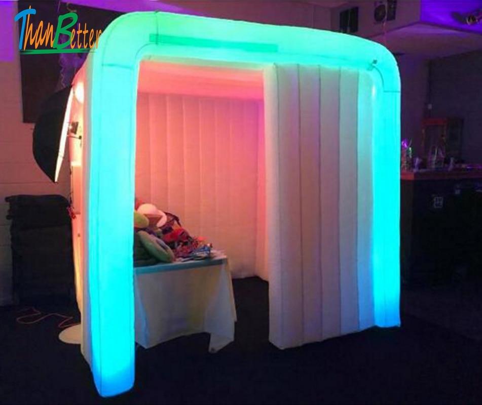 Cabine gonflable portative de cabine de photo de cabine gonflable de LED personnalisé de multi-couleurs pour des événements de noce de cabine de photo à vendre