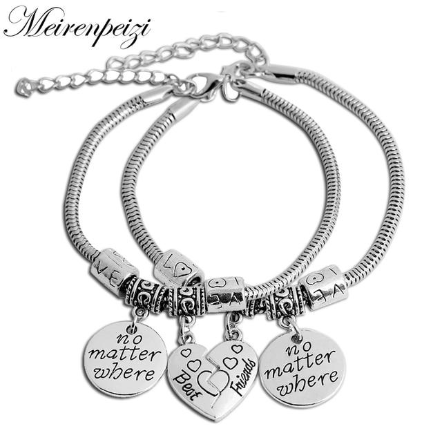 2pcs Best Friends No Matter Where Compass Split Broken Heart Double Necklace Set for Teens Gift for Women PCF8d9hb