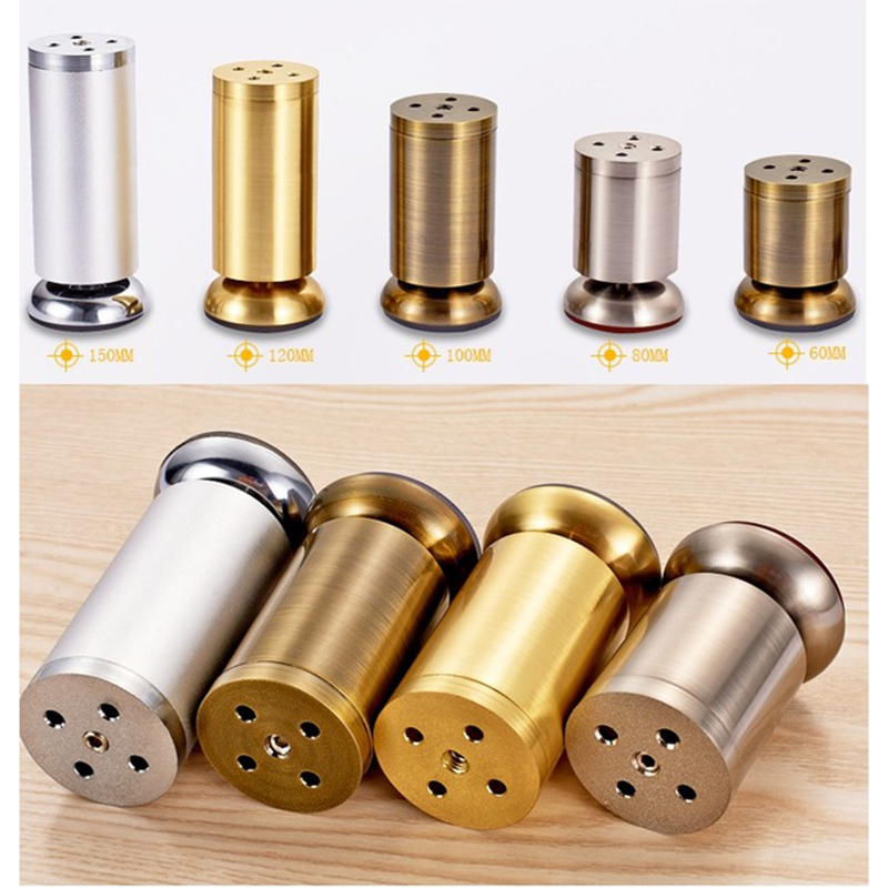 4Pcs/Lot Round Dia.50mm Zinc Alloy Adjustable Leveling Leveler Leg Feet For Sofa Bed Cabinet TV Gold Bronze