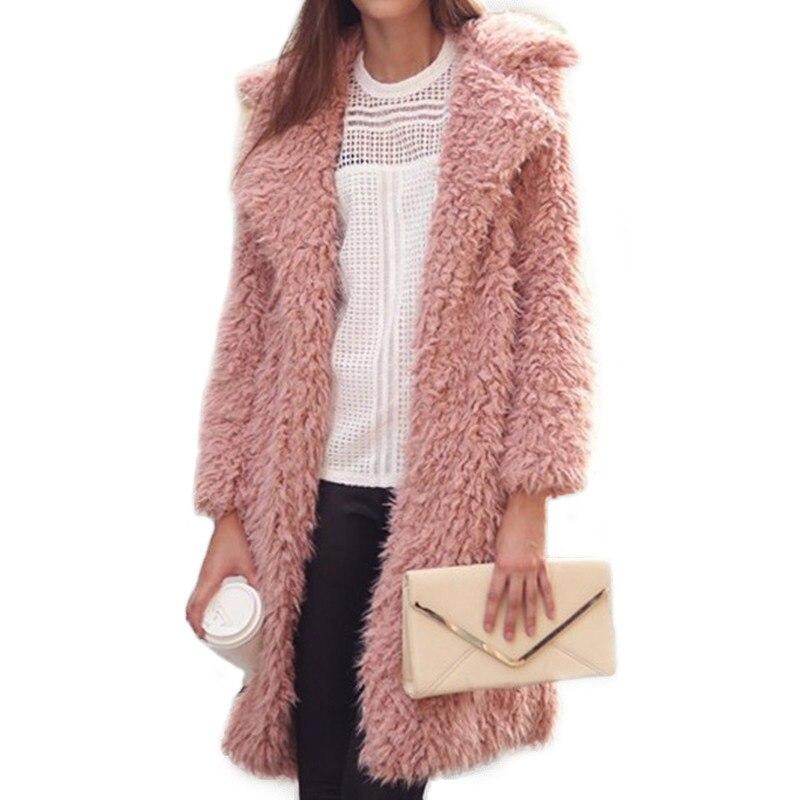 Casaco Feminino hiver manteaux femmes chaud rose fausse fourrure longue veste femme Furry pardessus col rabattu manteau grande taille