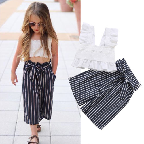 Striped Loose Long Pants Clothes Set Fashion Toddler Girls Outfits Plaid Printed Sleeveless Crop Tops