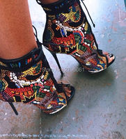 2017 Newest Crystal Covered Comic Open Toe Lace Up High Heel Ankle Booties Peep Toe Cut