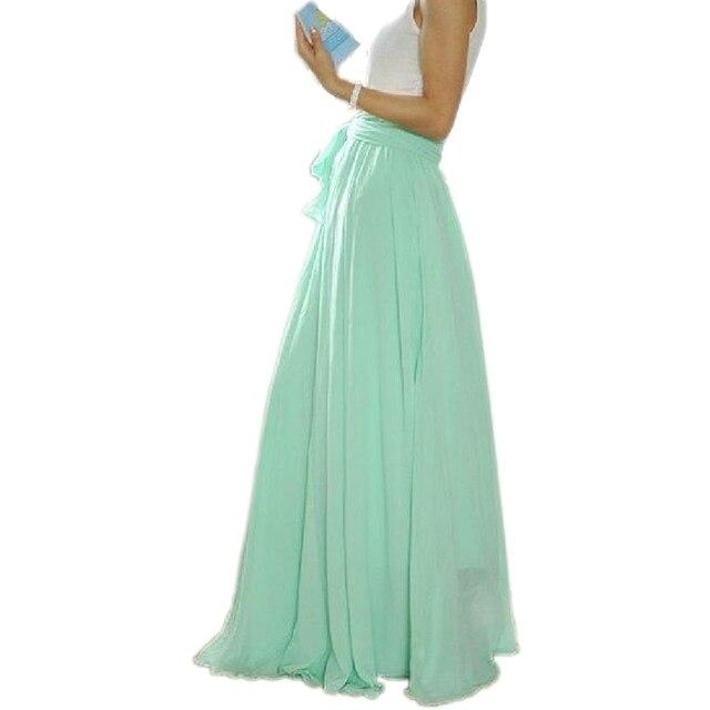 fd55551345 Moda Verde menta Maxi adultos Faldas plisadas chifón hasta el suelo mujeres  falda Faldas Largas Elegantes