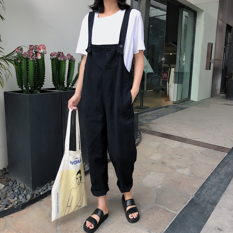 Black Beige Jumpsuit Women 2019 Casual Loose Overalls For Female Overall Ankle-length Pants Rompers Womens