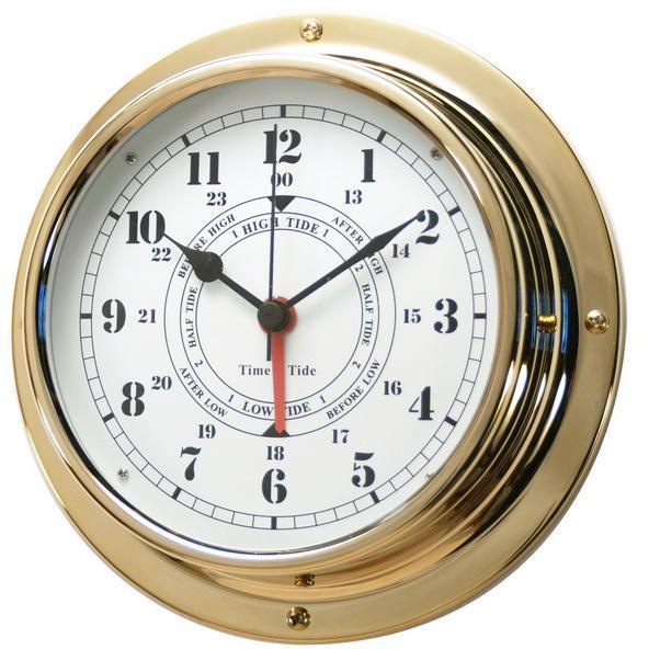 Nautical brass case navigation porthole tide clocks for Seashell wall clock