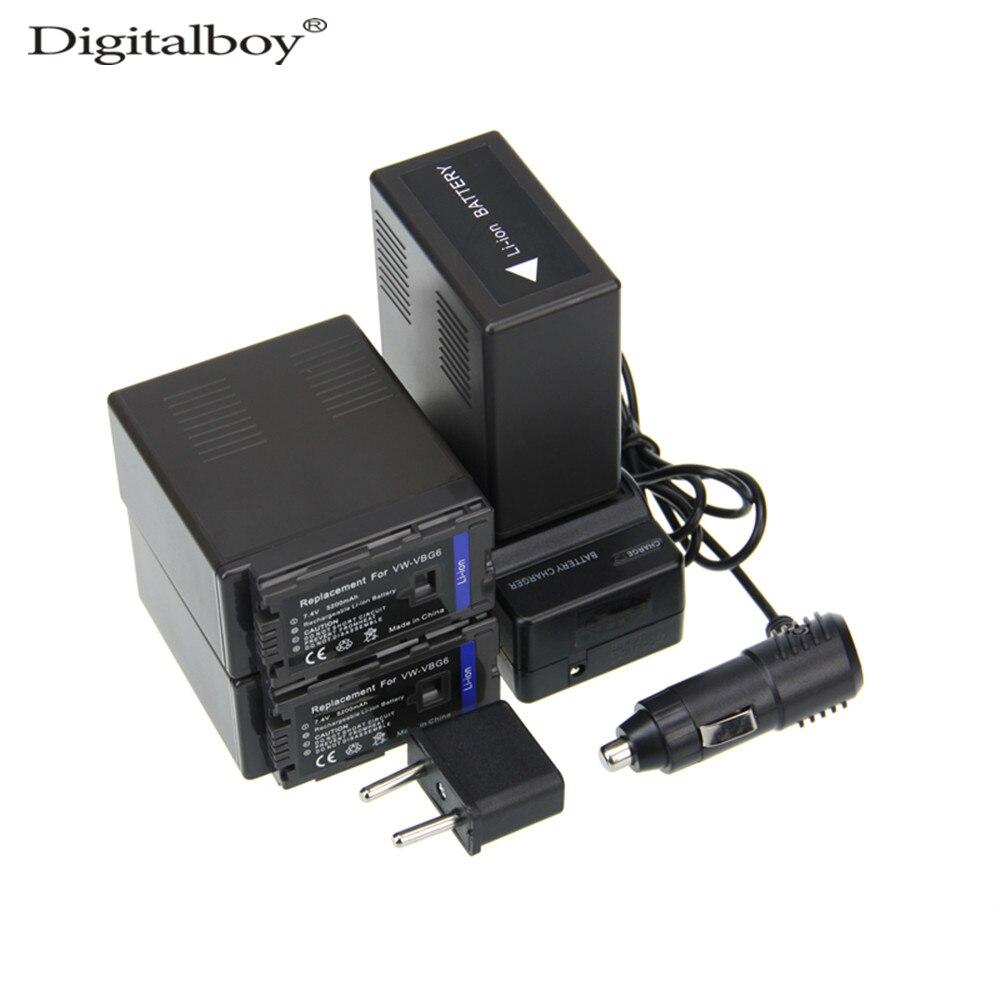 6PCS/Set 7.2V 5200mAh VW-VBG6 VW VBG6 VWVBG6 Battery+Charger+Car Charger+Plug For Panasonic AG-HMC43MC AG-HMC83MC AG-HMC-150CM