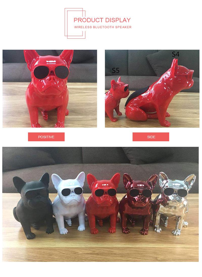 JS S5 Bulldog Bluetooth Wireless Speaker Originality Cartoon Mini Speaker For Apple Lighting Interface Plastic Loudspeaker Box