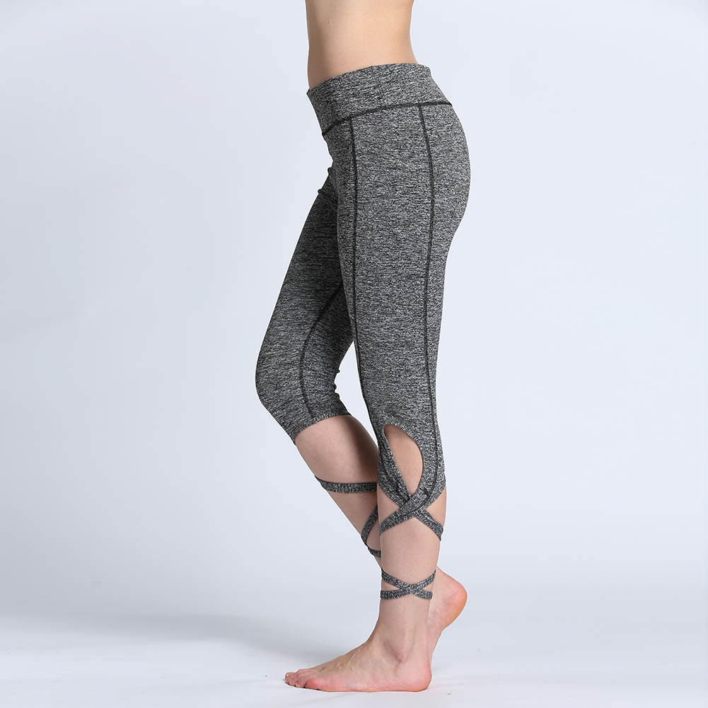Women High Waist Fitness Yoga Pants Breathable Quick Dry Sport Leggings Cross Yoga Ballet Dance Tight Bandage Cropped Pants