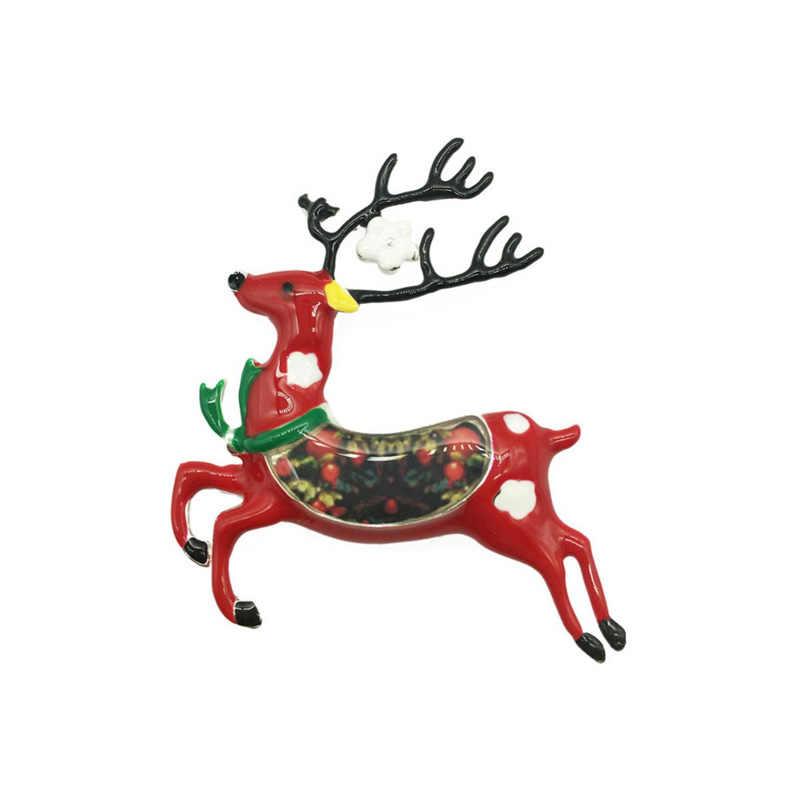 น่ารัก Reindeer เข็มกลัดเคลือบสัตว์กวางเข็มกลัด Charming Lapel Pin เสื้อคอเครื่องประดับของขวัญผู้หญิงผู้ชายเด็กเสื้อผ้า Pins