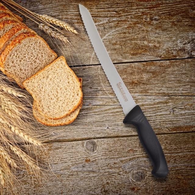 "Sedge Narrow Cake Bread Knife – SP Series – German High Carbon stainless steel Kitchen Knife – Ergonomic Black Handle – 10"""