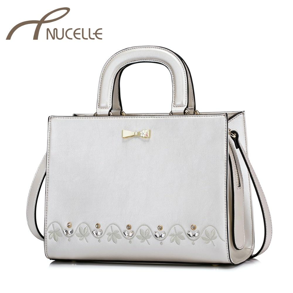 NUCELLE Women PU Leather Handbags Ladies Fashion Elegant Embroidery Diamond Messenger Tote Purse Female Bow Crossbody Bag NZ4085