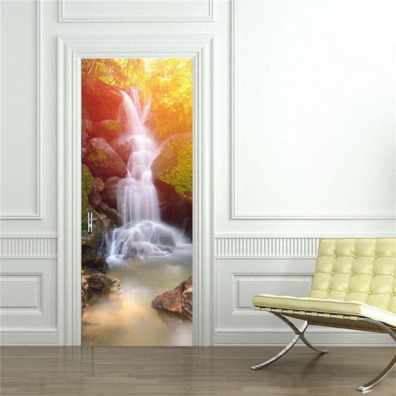 2 Pcs Set Nature Waterproof DIY 3D Wall Stickers Mural Poster PVC Door Glass Sticker Imitation