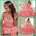 Vestido de baile rosa quinceanera inchado vestido 2016 vestido de princesa babados beading vestido de duas peças vestidos quinceanera novo design