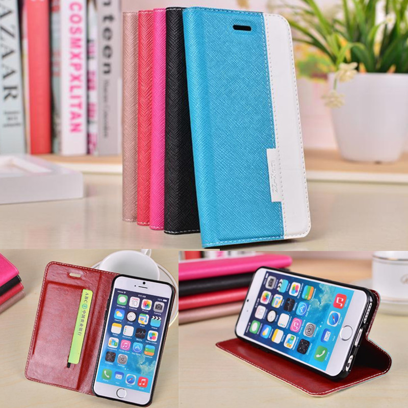 DS Cross hit the color pattern case Cover wallet PU Leather TPU case Stand Case For Apple iphone 6 6S 4.7 inch