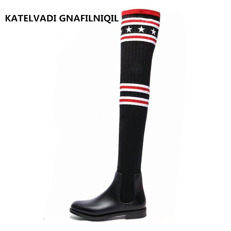 Women Socks Boots Stretch Slim Winter Over Knee Boots Black Thigh High Boots Elastic Shoes Woman Round Toe Snow Boots FS-0153 fashion women boots knee high elastic slim autumn winter warm long thigh high knitted boots woman shoes or935432