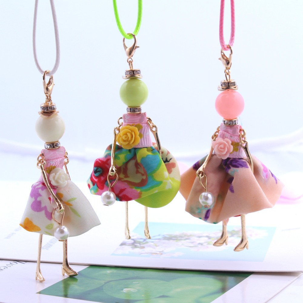 2016 New Fashion Lovely Imitation Pearls Sweet Girls' Doll Pendant Long Necklace Trendy Jewelry Accessories For Women Child image